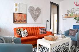cute white and orange living room bedroom interior home design