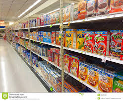 cereal on shelves in grocery store editorial stock image image