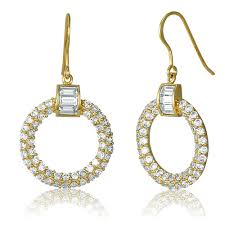 hook earrings gold flashed sterling silver cubic zirconia cz open circle fish