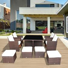 Aluminum Wicker Patio Furniture - outsunny deluxe 9pcs rattan wicker dining sofa table set outdoor