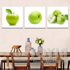 Apple Green Paint Kitchen - aliexpress com buy 3 panel painting canvas dinning room wall