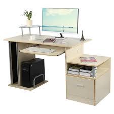 bureau ordinateur bois bureau informatique moderne table d ordinateur avec étagère de
