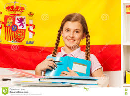 The Spain Flag Cute With Book And The Spanish Flag Behind Stock Image