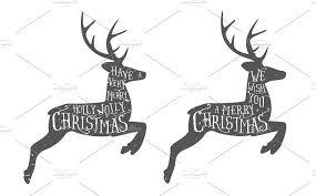 christmas deer vintage christmas greeting illustrations creative market