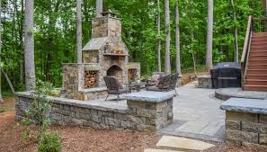 paver patio with outdoor fireplace ecogreen landscaping