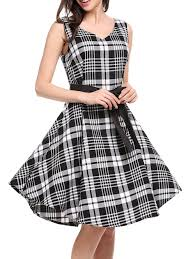 v neck belt plaid swing dress swings plaid and clothes