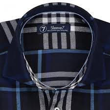 extra long navy blue white check dress shirt by sleeve7