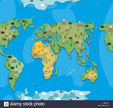world map with animals and trees seamless pattern background of