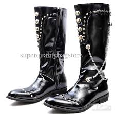 black color s shoes knee high boots rivets chains side