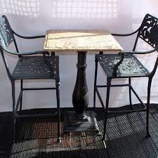 Granite Top Bistro Table Antique Cast Iron Table Base With Granite Top Two Bistro Chairs