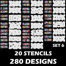 airbrush nail stencil set 6 package of 20 nail templates