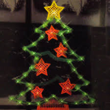 lighted window decorations tree with