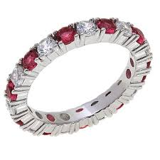 ruby eternity ring absolute cubic zirconia and simulated ruby sterling silver