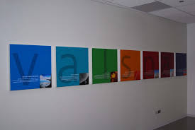 valspar company logo and products printed on acrylic box frames