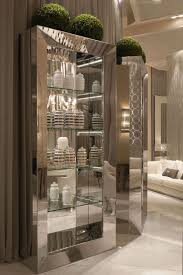 Curio Cabinet Contemporary Curio Cabinet With Mirrored Frame And Glass Shelves