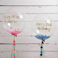 personalised birthday balloons personalised happy 30th confetti filled balloon by bubblegum