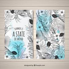 modern black and white tropical cards vector free