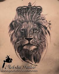 realistic king lion tattoo with crown done by mukesh waghela at
