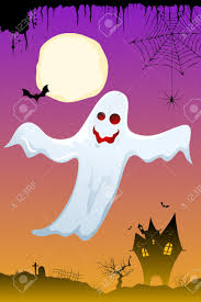 illustration of halloween ghost flying in dark sky stock photo