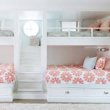 Girls Bunk Room Features A Builtin Staircase Flanked By Built In - Fitted bunk bed sheets
