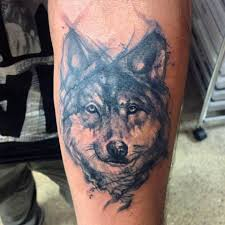 Forearm Wolf - black and grey wolf on left forearm by gutti canvasink
