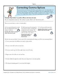 correcting comma splices punctuation worksheets