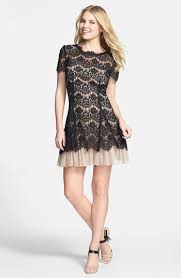Black Cocktail Dresses Nordstrom Betsy U0026 Adam Short Sleeve Lace Fit U0026 Flare Dress Available At