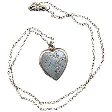 vintage locket pendant necklace images Vintage sterling silver heart locket pendant necklace jpg
