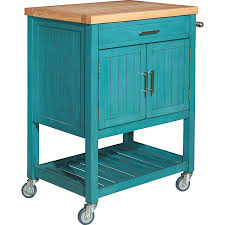 powell d1008a15t conrad teal kitchen cart w butcher block top