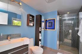 contemporary 3 4 bathroom with farmhouse sink frameless