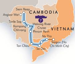 Mekong River Map Focus Travel Vacation Tour Holiday Cruise Package Vietnam