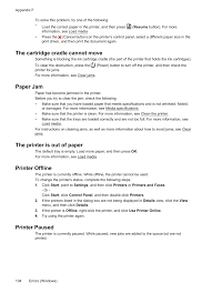 Printer Resume Rmation See Paper Jam A The Cartridge Cradle Cannot Move Paper