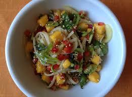 rice noodle salad with fresh mango and snap peas chef nathan lyon