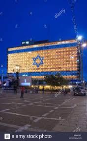 Flag Of Israel Flag Of Israel Created By Light Bulbs On The Tel Aviv Municipality