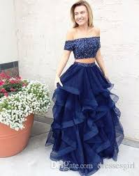 stylish dresses 2017 stylish navy blue two pieces prom dresses shoulder tulle