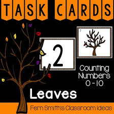 counting numbers 0 10 fall leaves themed task cards tpt