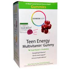 Rainbow Light Vitamins Rainbow Light Teen Energy Multivitamin Gummy Delicious Grape