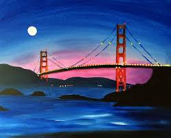 golden gate bridge painting art with heart paint with your pals