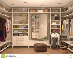 white dressing room interior of a modern house stock