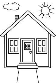 coloring pages houses kid drawing of house in houses coloring page netart