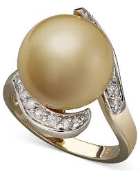 golden gold rings images Macy 39 s 14k gold ring cultured golden south sea pearl 14mm and tif