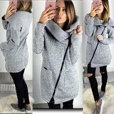 womens warm casual hoo jacket coat long zip up sweatshirt