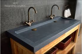 wide basin bathroom sink 47 x 19 trendy double trough gray granite stone double bathroom