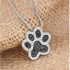 black white crystal necklace images Hot sale dog paw necklace black white crystal rhinestone pendant jpg