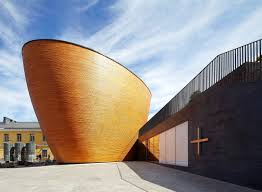 curved wood wall a curved wooden chapel in a northern square architect magazine