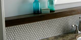 Bathroom Vanity Backsplash by Remodelaholic Tips For Installing A Penny Tile Backsplash