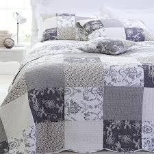 Grey Quilted Comforter Sashi Bed Linen Riviera Toile Patchwork 100 Cotton Quilted