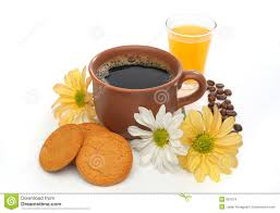 Beautiful Coffee Cup Coffee Cookies Chocolate Flowers Stock Photos Images