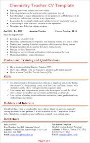 Hobbies And Interests On A Resume Examples by Chemistry Teacher Cv Template Tips And Download U2013 Cv Plaza