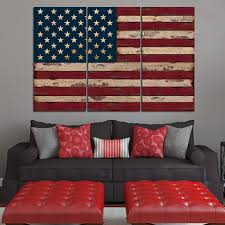 Pallet American Flag American Flag Wall Art Canvas Combine With Dark Grey Sofa And Red